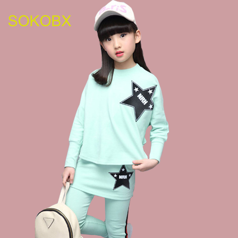 SOKOBX Girls clothing set 2018 new cotton long sleeves spring autumn casual bat shirt + skirt pants 4-8- 12-14 years baby girls 2017 new cartoon pants brand baby cotton embroider pants baby trousers kid wear baby fashion models spring and autumn 0 4 years