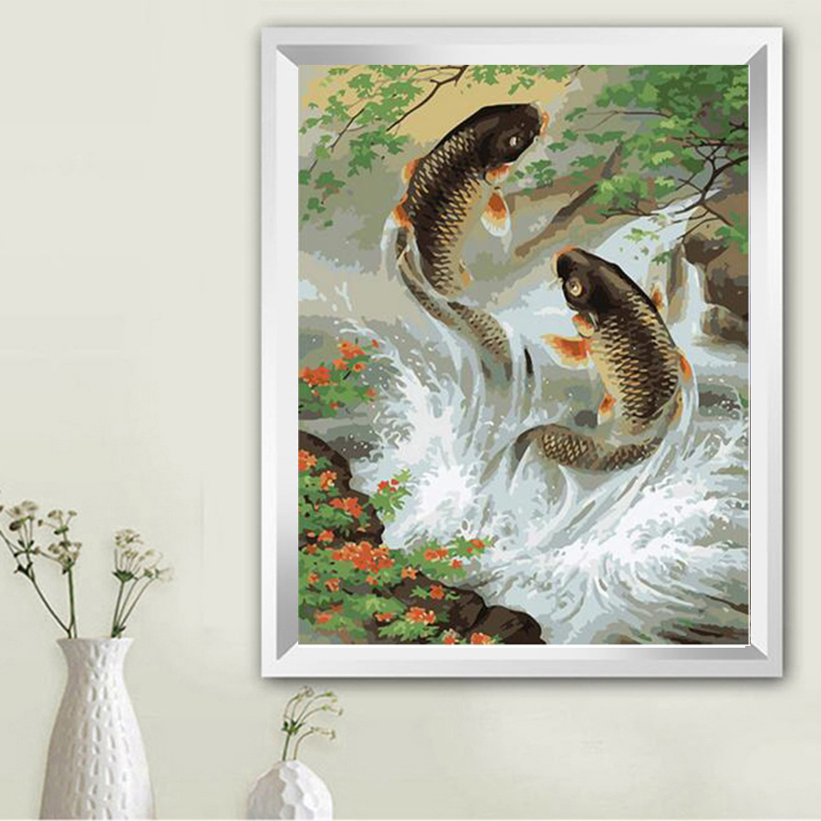 40*50 carp fish animal wall art Oil diy Painting By Numbers on Canvas art cuadros wedding decoration Modular pictures TF601