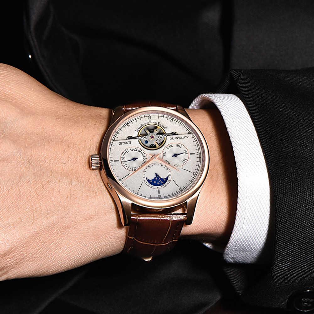 Reloj LIGE นาฬิกาผู้ชาย Tourbillon หรูหราแฟชั่นหนังกีฬานาฬิกาผู้ชายอัตโนมัตินาฬิกา Relogio Masculino