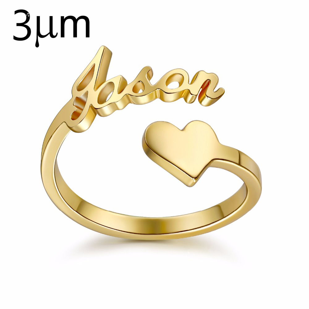 3UM Gold custom Spiral Ring Personalized Name Ring With Heart Custom Nameplate Ring For Couple Lover Graduation Keepsake Gift