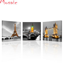 "diamond painting cross stitch kits""3 Panel Paris Tower City Building London Bridge Big Ben Landscape diy 5d Diamond Embroidery(China)"