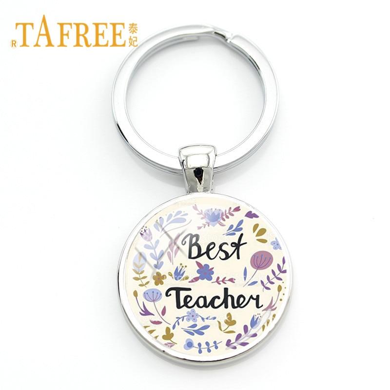TAFREE Teachers Day Gift Key Chain The Best Teachers Teach From the heart not form the book Keychain Letter Charm Keyring FQ470