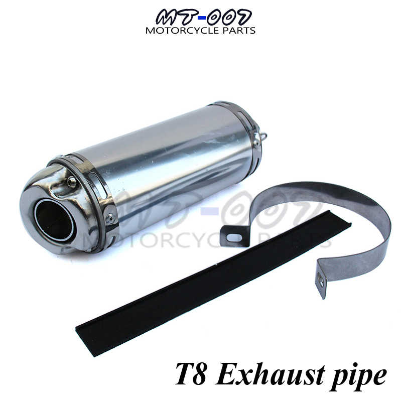 t8 big stainless steel exhaust pipe exhaust muffler for off road motorcycle dirt pit bike ktm bse 32mm tapered connector