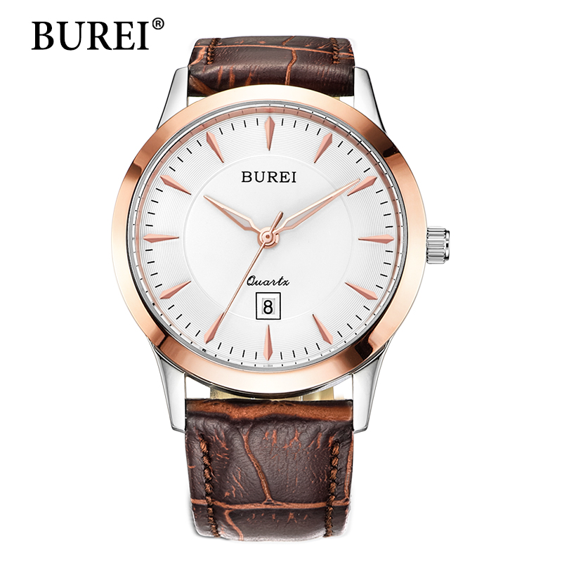 BUREI Women Watch New Top Brand Female Clock Date Display Waterproof Watches Sapphire Lens Leather Strap Wristwatches Hot Sale 2017 burei men watches top brand fashion clock genuine leather strap casual saat erkekler watch waterproof wristwatches hot sale