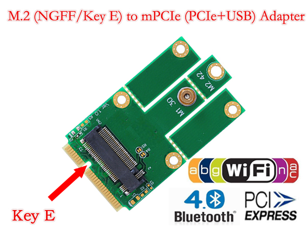 L NGFF M.2 To MiniPCIE Key E MiniPCI-E MPCIE Slot PCIe + USB Adapter Wifi + Bluetooth Mini Adapter Card For Desktop Laptop