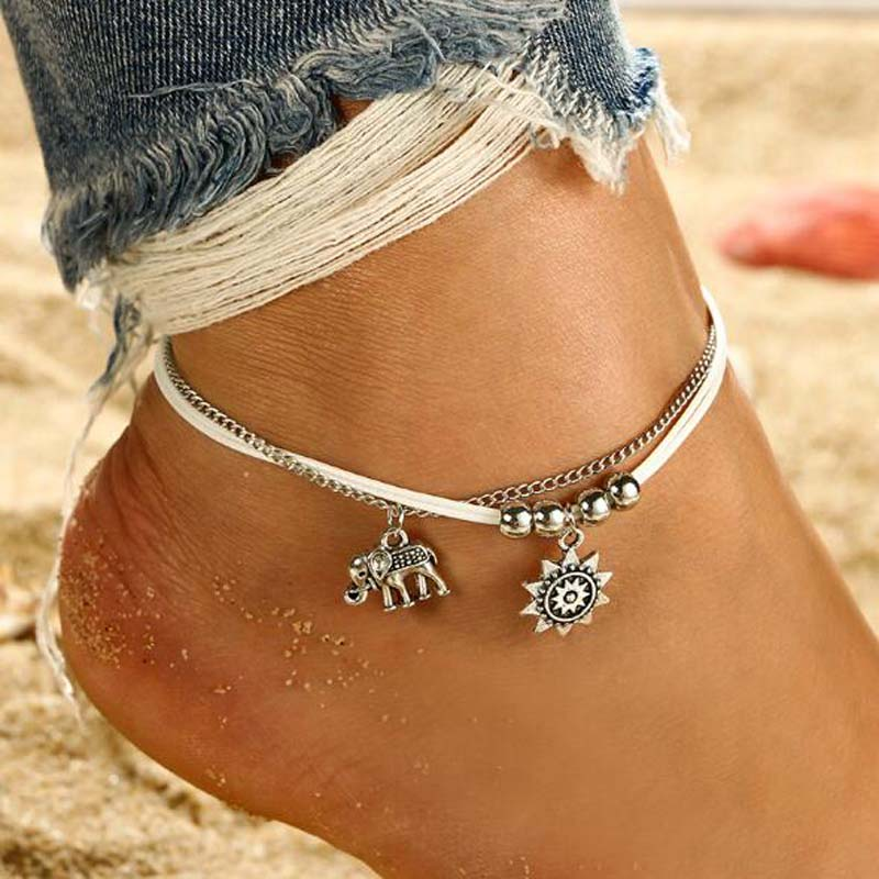 Silver Colored Flower Charms Anklet
