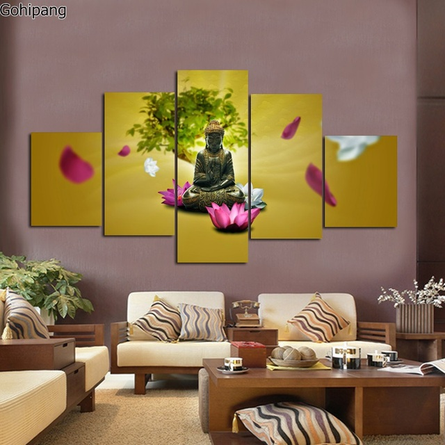 Wall Art Canvas Free Shipping 5 Piece Large Living Room Oil Paintings  Printed Unframed Buddha And
