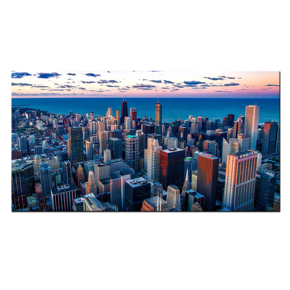 Visual Art Decor Modern Home Wall Decoration Cityscape Canvas Printing Skyscraper Picture Canvas Prints (24x42)