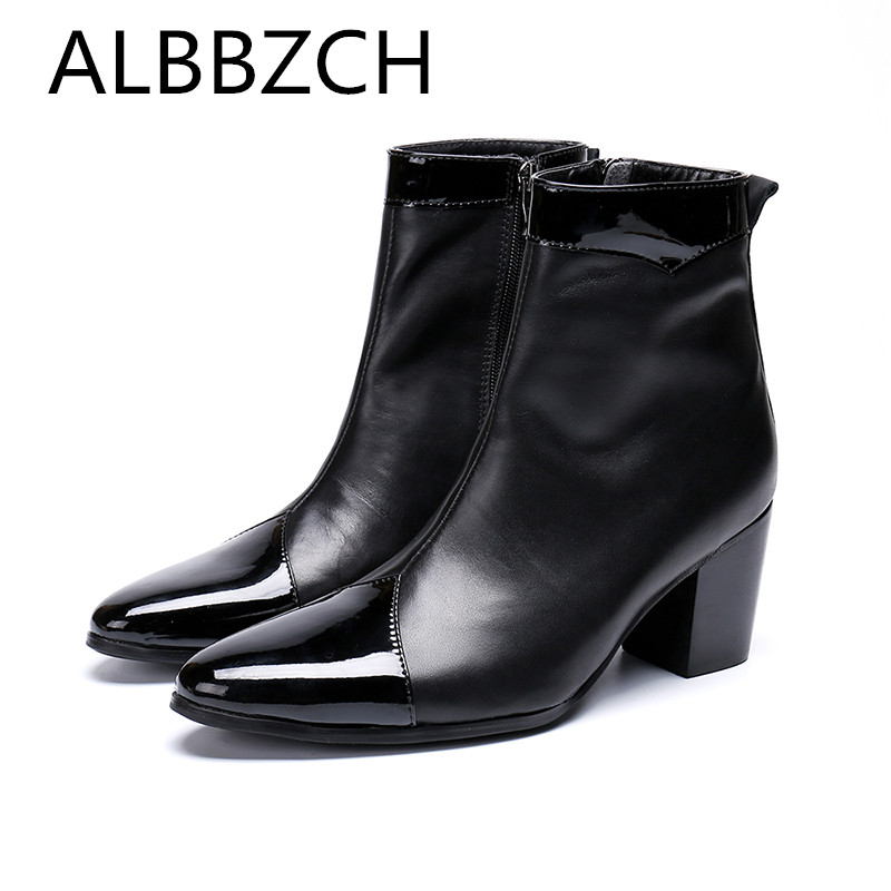 Fashion Mens High Heel Boots Men Ankle Chelsea Boots Patent Leather Male Shoes Chunky Motorcycle Man Boot Career Work Show BootsFashion Mens High Heel Boots Men Ankle Chelsea Boots Patent Leather Male Shoes Chunky Motorcycle Man Boot Career Work Show Boots