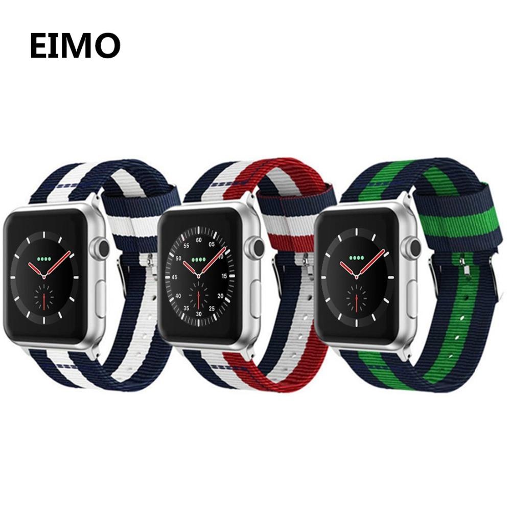 EIMO sport woven nylon strap for Apple Watch band 3/2/1 42mm/38mm bracelet wrist belt fabri watchband for iwatch series 3/2/1 woven nylon sports band for apple watch outdoors survival strap belt for 38 42mm iwatch series 1 2 3 men s wrist bracelet i71