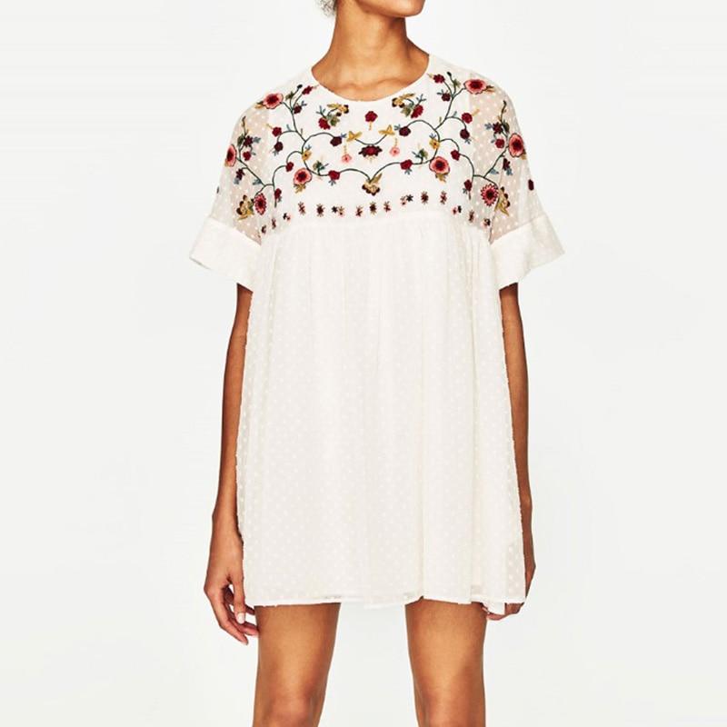 2020 Cheshanf New Summer Fashion Women Flower Embroidery Dress Vintage Dress Elegant Casual Loose Short Dresses Vestidos Mujer