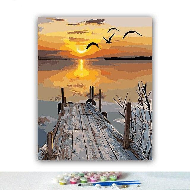 Peinture à numéros coucher de soleil au bord de l'eau 40x50 framed