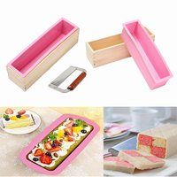 Toast Free Cutter Silicone Wooden Soap Mold Loaf Cake Baking Bread Tools DIY Chocolate Box Mould