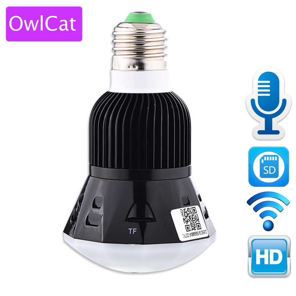 OwlCat New Mini Lamp WIFI Camera 1080P HD Bulb Light Wireless IP Camera 360 Panoramic FishEye 3D VR Lens Support 128GB SD Card 360 camera 4k ultra hd panoramic action camera 1080p 3d fisheye lens vr camera wifi mini sports video camera deportiva kamera