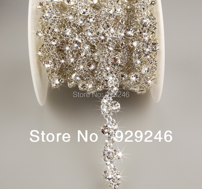 90 cm pack 1.2 cm AB clear crystal rhinestone cadena de plata adornos de  oro coser en forma de S para la boda nupcial del sombrero vestido de  costura ... 103a1d4e7ff