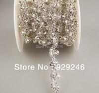 90 cm/pack 1.2 cm srebro AB jasnego kryształu rhinestone łańcuch złoty wykończenia szyć na S kształt dla bridal ślubnej togi kapelusz szycia dekoracji