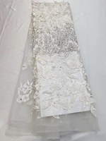 High Quality Nigerian 3D Wedding Lace Fabric white Latest African Laces 2018 French Net Lace Fabric With Stones for Dress