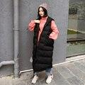 Para baixo no longo colete de algodão inverno tamanho da fêmea mm de gordura sólida solta sem mangas casaco jaqueta de algodão acolchoado jaqueta