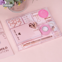 Never Rose Gold stationery Set Luxury Metal Pen Push Pins Washi Tape Paper Clips with Stationery Box Student Gift Stationary