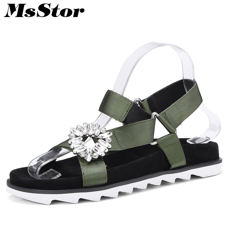 MsStor Round Toe Open Toed Flat Sandals Fashion Metal Decoration Women Crystal Sandals Casual Shoes 2018 Summer Women's Sandals fashion summer gladiator women flat fashion shoes casual occasions comfortable sandals round toe casual peep toe flat shoes s