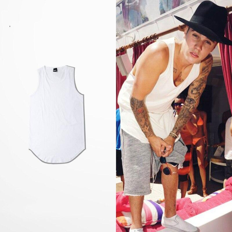 Brand Men Summer Hip Hop Extend Long   Tank     Top   Men's White Vest Fashion Swag Sleeveless Cotton Justin Bieber Solid   Tops   Kanye