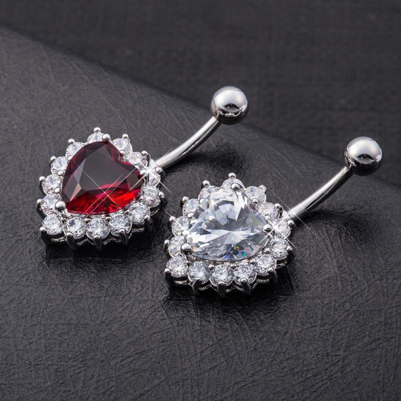 18K White Gold Plated Zircon CZ Cluster Chandelier Piercing Navel Ring for Women