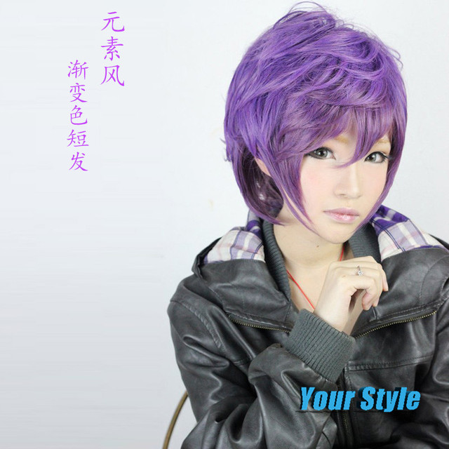 32cm Short Pixie Cut Harajuku Anime Wig Cosplay Purple Ombre Color Heat  Resistant Synthetic Hair Wig Wigs For Japanese Anime 80773778f