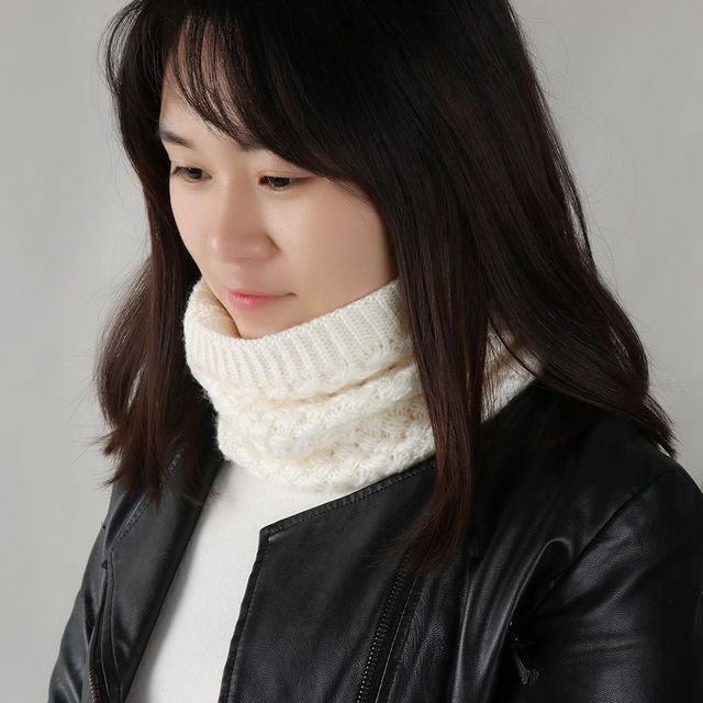 Brushed Knit Neck Warmer Circle Go Out Wrap Cowl Loop Snood Shawl 1