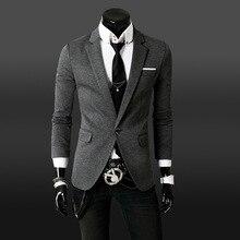 Настоящий Блейзер Masculino Новая мода весна осень Повседневный хлопковый Мужской Блейзер приталенный, с одной пуговицей костюм Blaser мужской пиджак