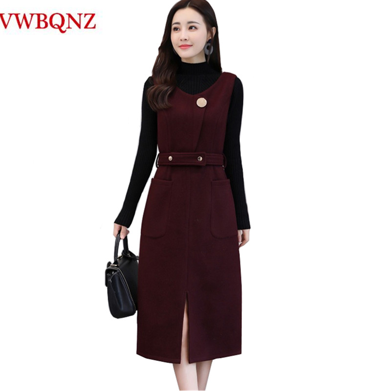 Fashion 2018 Autumn Winter Sleeveless Wool Dress Women clothing High quality Elegant Temperament Slim Ladies Vest Woolen Dress