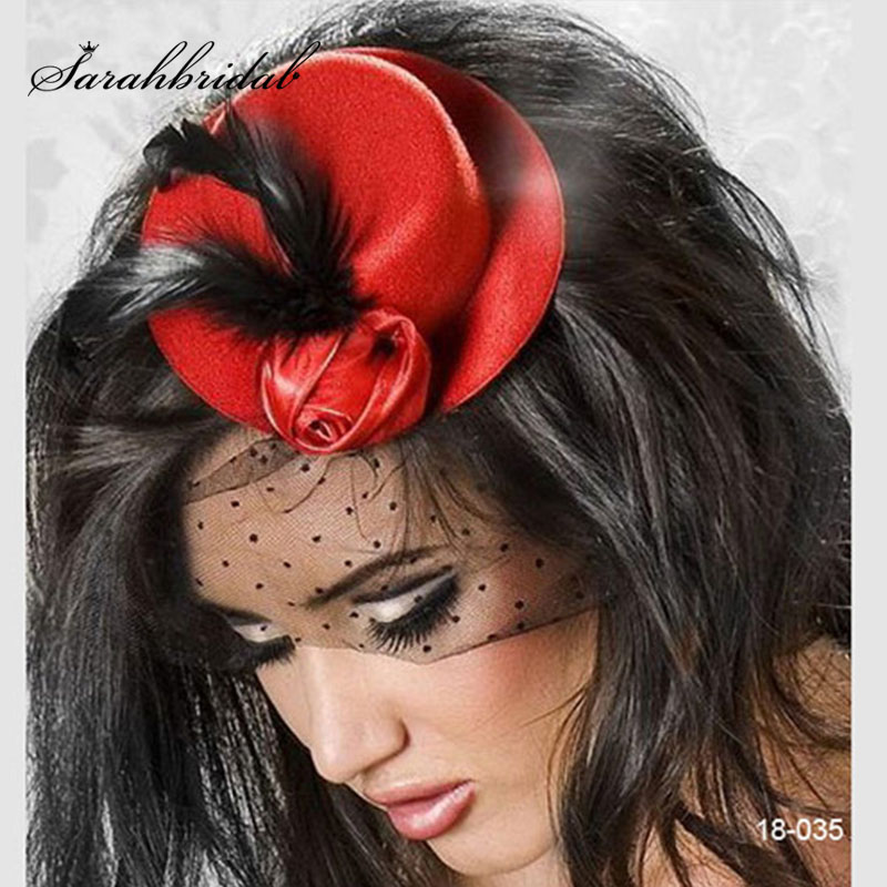 Mini Hat Wedding Bridal Birdcage Veil With Black Feather Blusher Red Black Pink Tulle Hair Flower Hat In Stock 18035