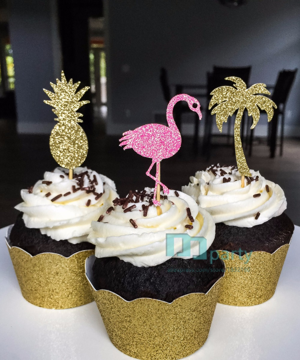 Pineapple Cupcake Toppers Tropical Theme Luau Decor Bridal ...