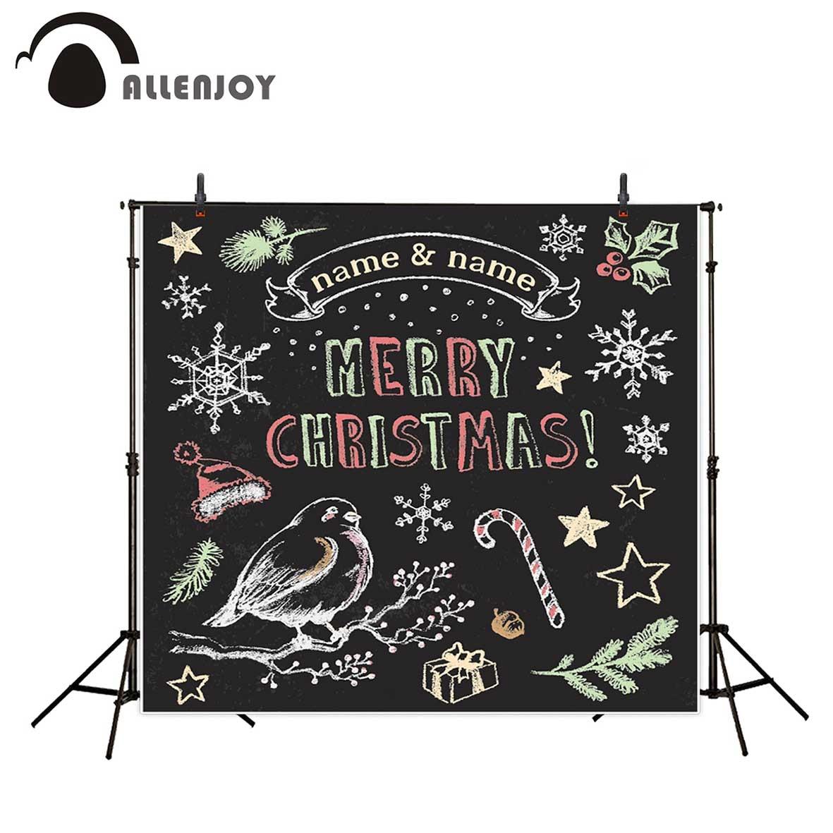 Allenjoy photography backdrop Christmas custom chalkboard bird gift snowflake background photocall photobooth photo studio allenjoy christmas photography backdrop wooden fireplace xmas sock gift children s photocall photographic customize festive