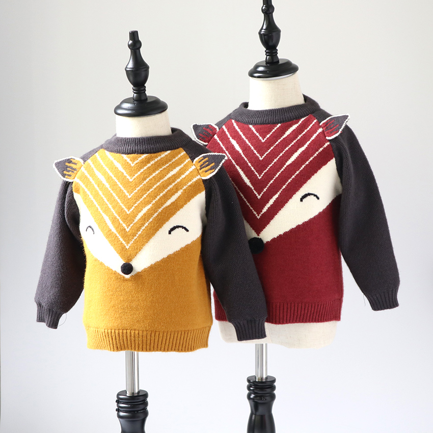 Children's sweater 2018 winter boys and girls sweater baby cartoon fox plus velvet thick pullover sweater warm bottoming sweater