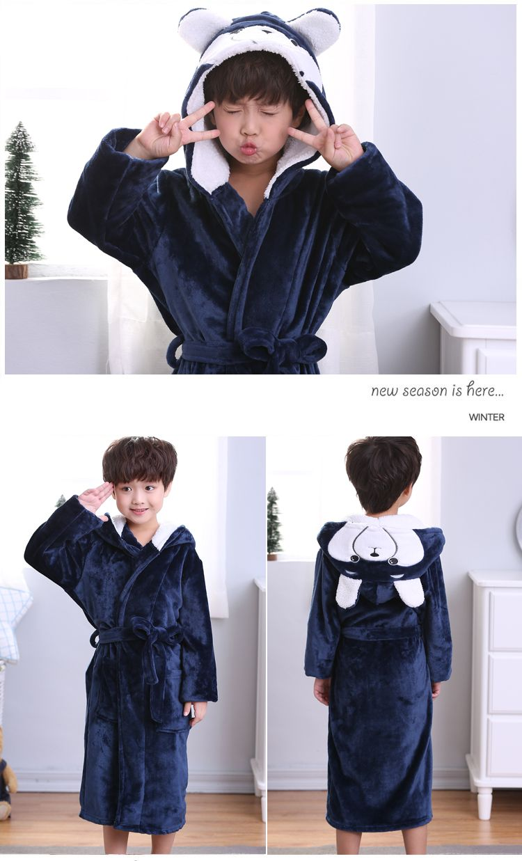 Fashion 2018 Baby Hooded Bathrobe Spring Autumn Cotton Bathrobe Children Bath Robes Boys Cartoon Long Flannel Kids Swimming Robe