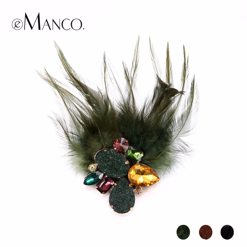 eManco Women Fashion 3 Items Feather & Stone Brooches Vintage Nostalgic Style Multi-functional Brooch Jewelry Cloth Accessories