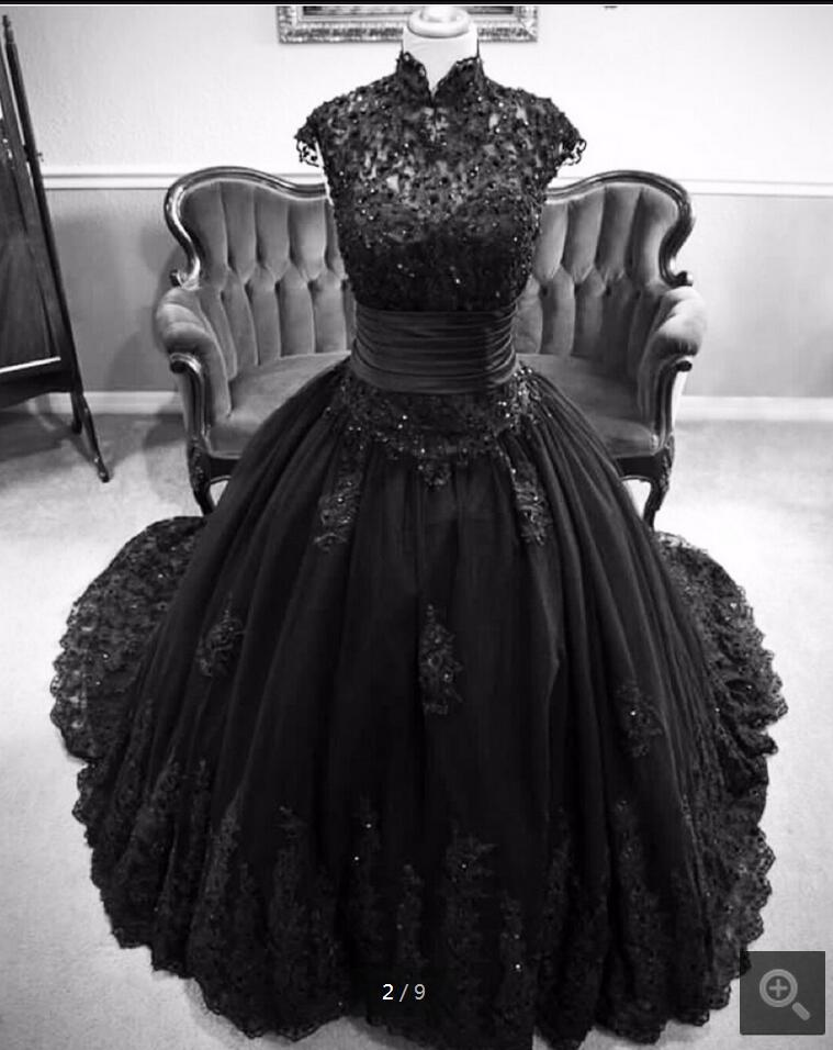 real picture 2017 black lace ball gown muslim wedding dress lace high neck princess gothic wedding