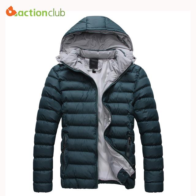 ACTIONCLUB Algodão Para Baixo dos homens Gola Jaqueta Plus Size 5XL Cor Sólida Casuais Com Capuz Parka Homens Jaqueta de Inverno Moda Casaco Outerwear
