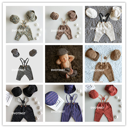 Dvotinst Newborn Photography Props Baby Boy Suspender Pants+2pcs Hats Gentleman 3pcs Set Costume Clothes Studio Shoot Photo Prop