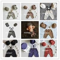 Dvotinst Newborn Photography Props Baby Boy Suspender Pants 2pcs Hats Gentleman 3pcs Set Costume Clothes Studio