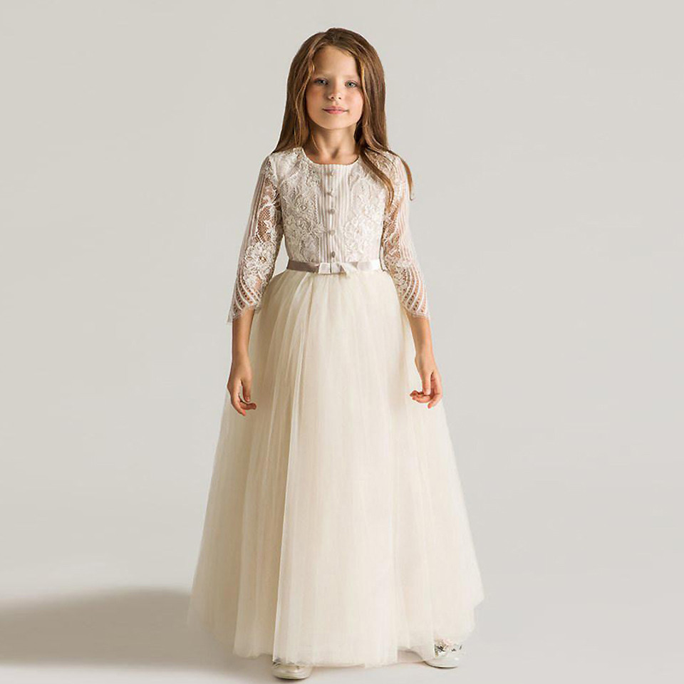White Ivory Flower Girl Dress Three Quarter Sleeves Lace with Belt Tulle O Neck Girls Birthday Party Dress Christmas Gown green crew neck roll half sleeves mini dress