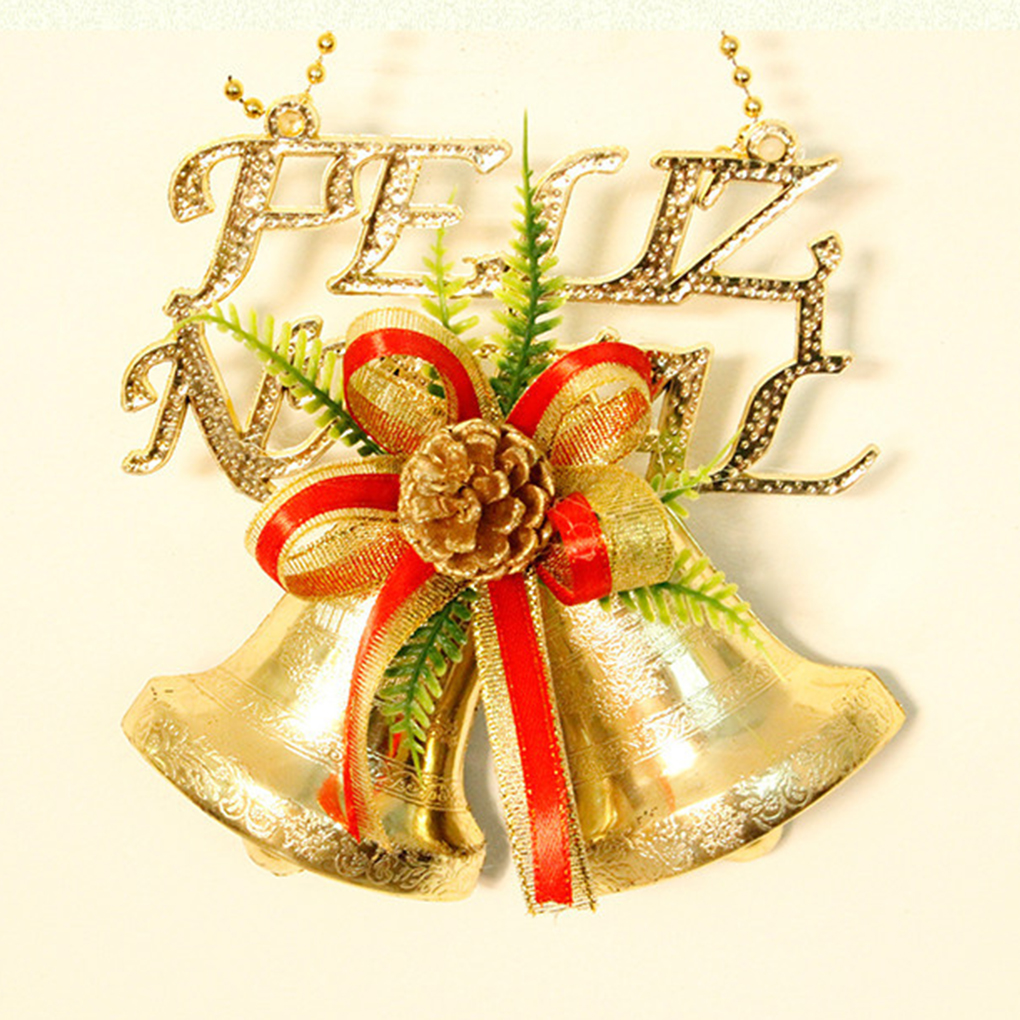 Yearly christmas ornaments - Cute New Year Christmas Ornaments Bells Openwork Gold Letters Cards Christmas Double Bells China