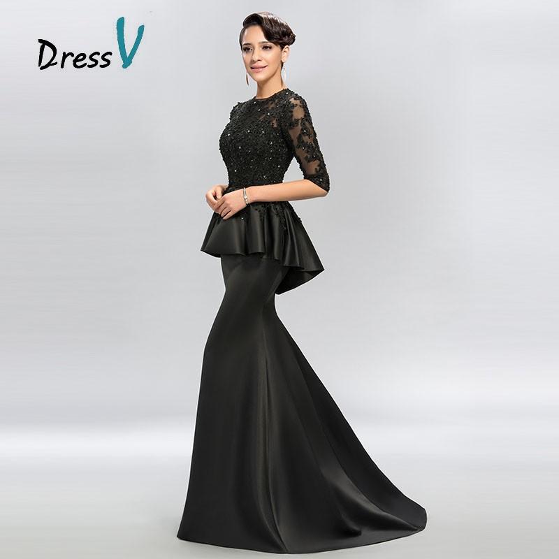 4b410bd63 Vestido Vintage negro sirena encaje largo vestidos de noche media manga con  cuentas cuello redondo apliques largos vestido de noche vestido de  Graduación