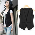 New 2016 Summer Women Casual Basic Solid Vest coat Lady Casual sleeveless blazers
