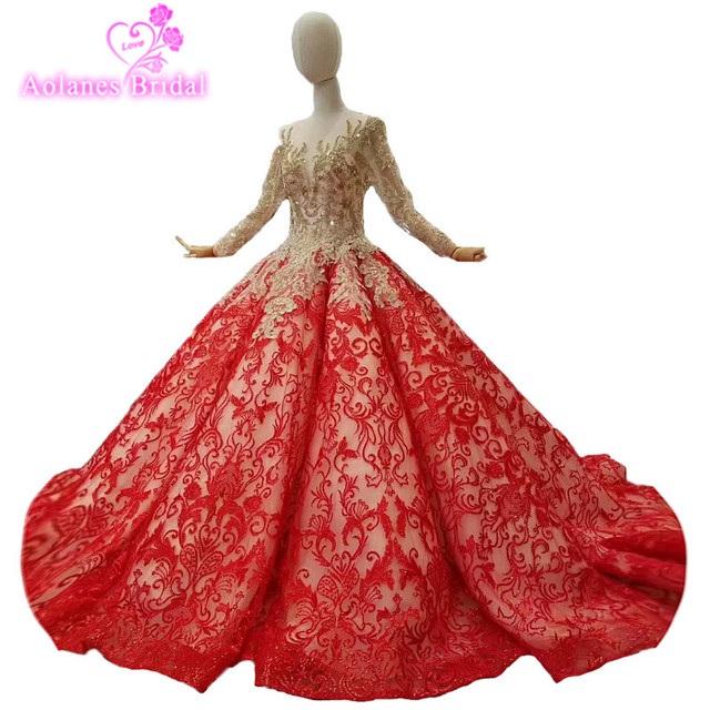 2018 Gold Lace Red Scoop Court Train Ball Gown Long Sleeves Prom Dress  Floor-length Illusion Evening Dresses Vestido De Festa fbe39d4ef14c