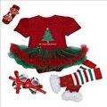 Natal define Novo Bebê Menina Conjuntos de Roupas de recém-nascidos roupa do natal menina Rendas Tutu Romper Vestido Jumpersuit + Joelheira + Sapatos 4 pcs Set