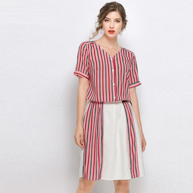 US $34.45 35% OFF|2019 Summer stripe Clothes Set Women Plus Size Elegant  Two pieces Dress twinset office ladies Work dress vestidos tops+skirt  5XL-in ...