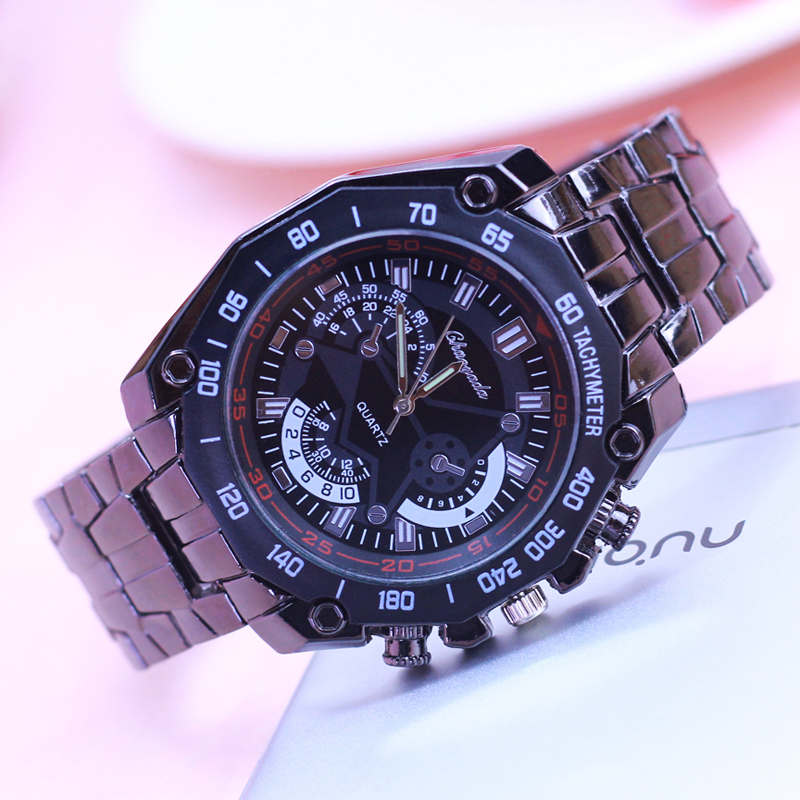 2018 Men Father Gifts Stainless Steel Quartz Business Watches Students Cool Black  Luminous Hands Water Proof Relogio Masculino