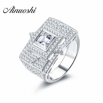 100% Real Solid 925 Sterling Silver Rings Princess Cut Unique Design The eight trigrams Pattern Real Men Jewelry High Quality