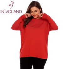 IN'VOLAND Oversized Women Sweater Tops XL-4XL Autumn Winter Casual Jumper O-Neck Long Sleeve Solid Basic Pullover Big Size